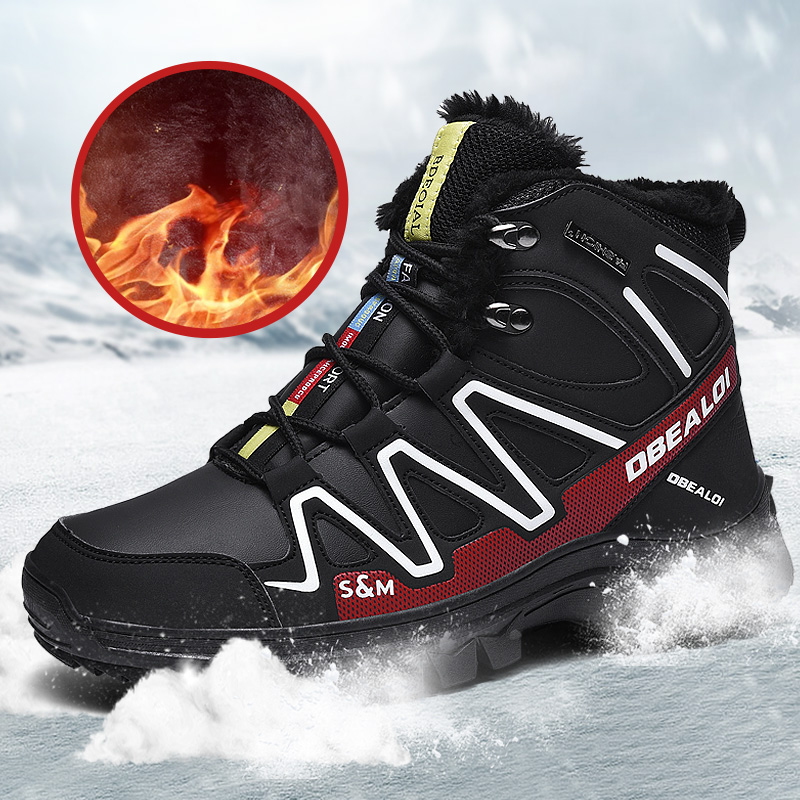 Men Boots Sneakers Rubber Casual-Shoes High-Top Waterproof Winter No Ankle with Fur Super title=