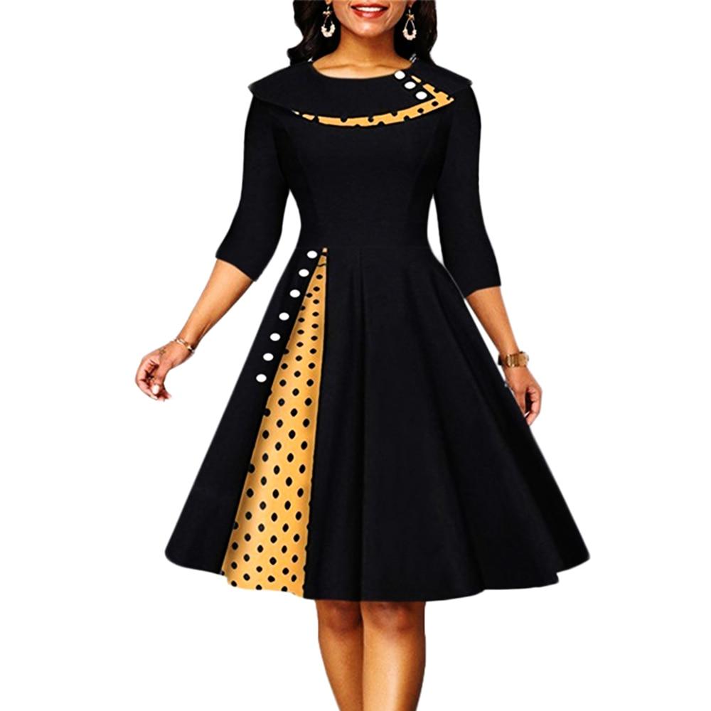 Woman Dress 2021 Summer Casual Slim Three Quarter Sleeve Ball Gown Dresses