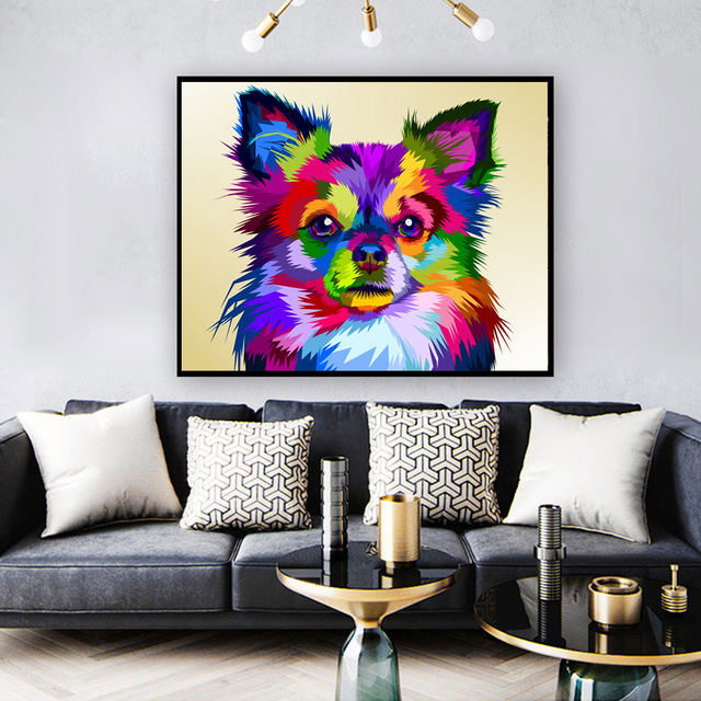 Huacan Full Square Round Drill Diamond Painting 5d Dog DIY Diamond Embroidery Mosaic Animal Handmade Gift