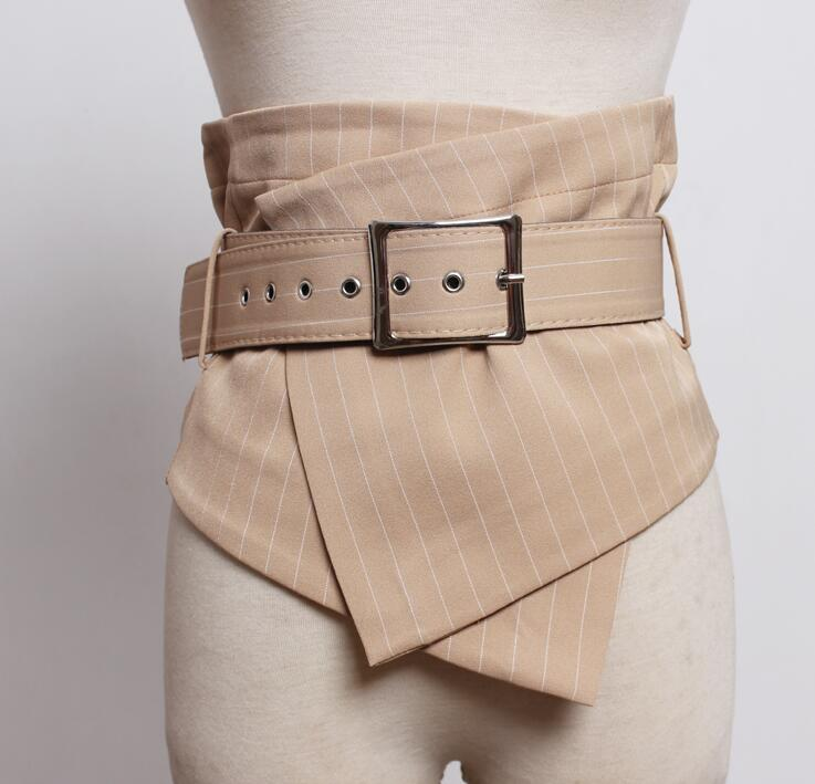 Women's Runway Fashion Plaid Fabric Cummerbunds Female Dress Coat Corsets Waistband Belts Decoration Wide Belt R1767
