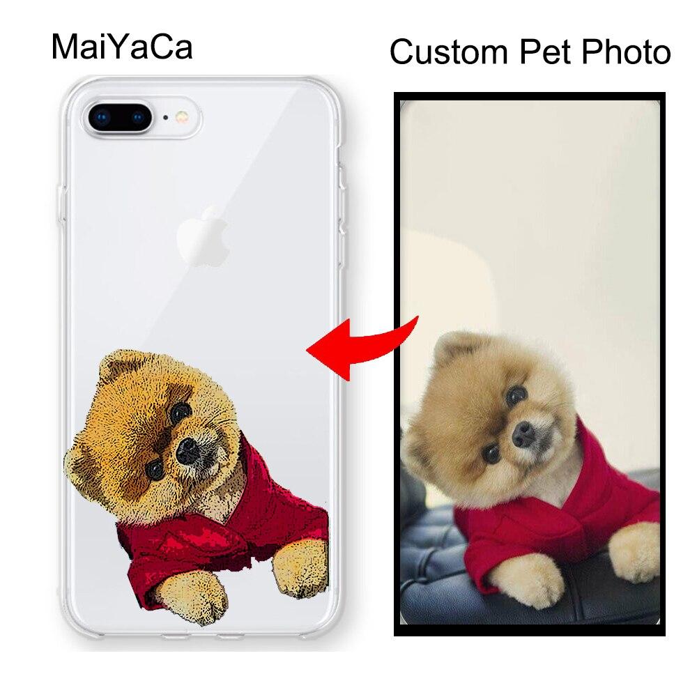 Custom Pet illustrated Cat Animal gift Dog Portrait Clear Case for iPhone 12 mini 11 Pro MAX X XR XS MAX SE 2020 6S 7 8 Plus