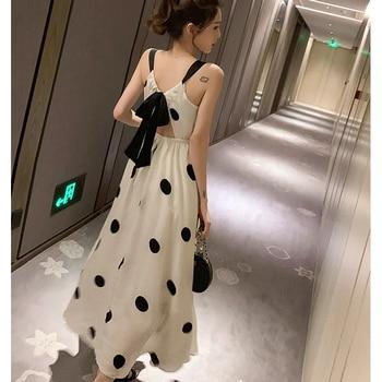 2020 Summer Plus Size 4XL Women Dress Belt Bow Sleeveless Ladies Vestidos Print Dot Elegant Dress Off the Shoulder Brnd Robe 2