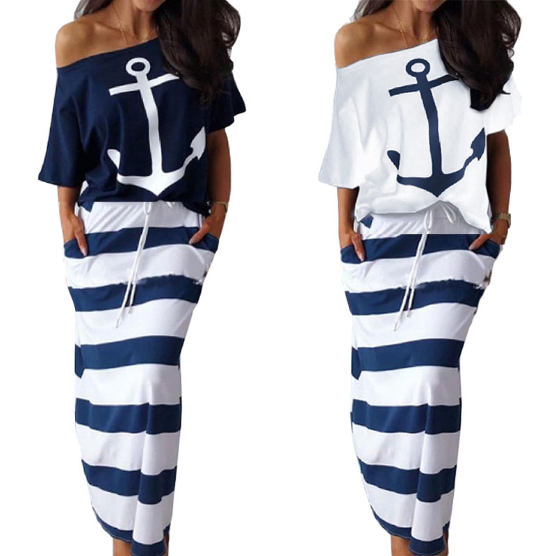 Summer Women Two Piece Suits Sexy Off Shoulder Short Sleeve Print Tops Striped Skirt 2 Piece Sets Womens Plus Size Outfits DG001