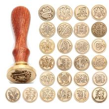 Retro Wood Stamp Classic 26 Letter A-z Alphabet Initial Sealing Wax Seal Stamp Ancient Seal Post Decorative Antique Stamp Gifts 1x wax seal stamp retro wood classic sealing wax seal stamp decorative rose tree of life wedding invitation antique stamp