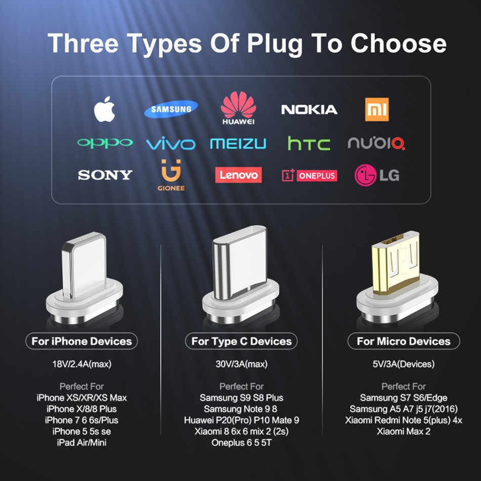 1M 3Aสายชาร์จMicro USB CableสำหรับXiaomi Iphone XR XS Max Xแม่เหล็กUSB Type C LEDชาร์จสายไฟ