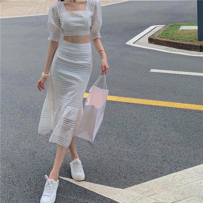 Women Hollow Out Crop Top Skirt 2 Piece Set Striped Sexy Square Neck Backless Tops Ruffles Mermaid Skirts Suit White Outfits