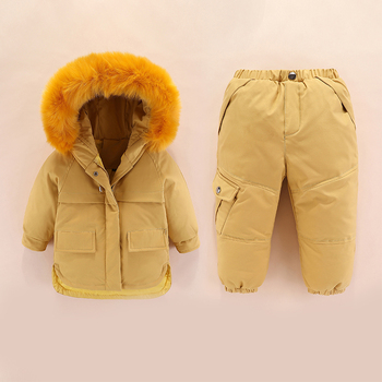 Winter infant clothing boy sets baby boy clothes duck down with fur girl baby winter clothes jacket+pant infant boy set toddler фото