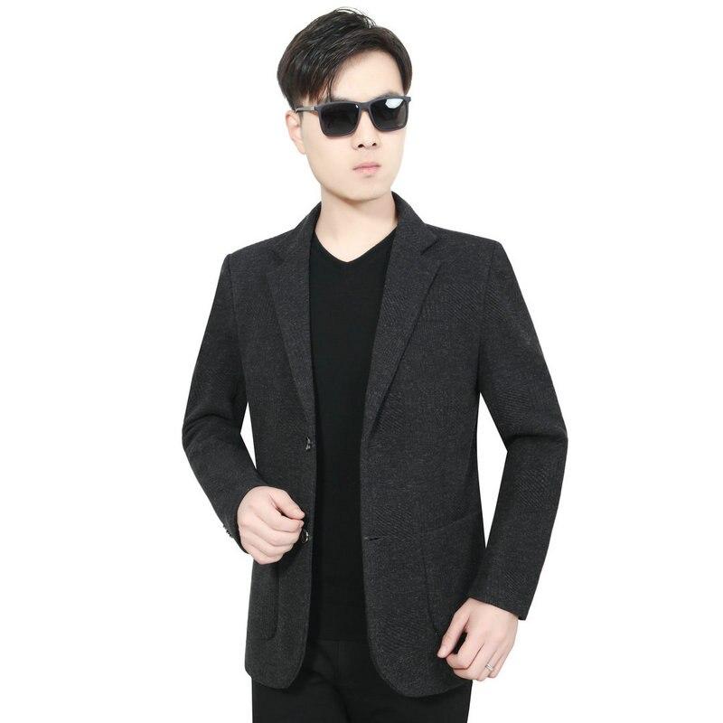 Winter Autumn Men Elegant Tweed Blazer Smart Business Casual Suit Jacket Man Notched Collar Design Gray Blazers Blend Coat Male