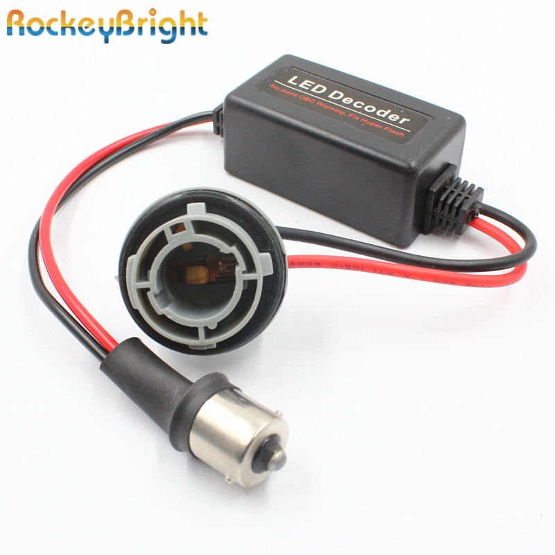 Rockeybright 1156 canbus Arnés de resistencia de carga libre de error Decodificador LED Cancelador de advertencia para bombillas LED 7506 7507 7527 BA15S P21W