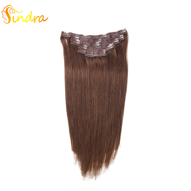 Sindra 7 Clips Natural Silky Straight Human Remy Hair Clip In Extensions 14