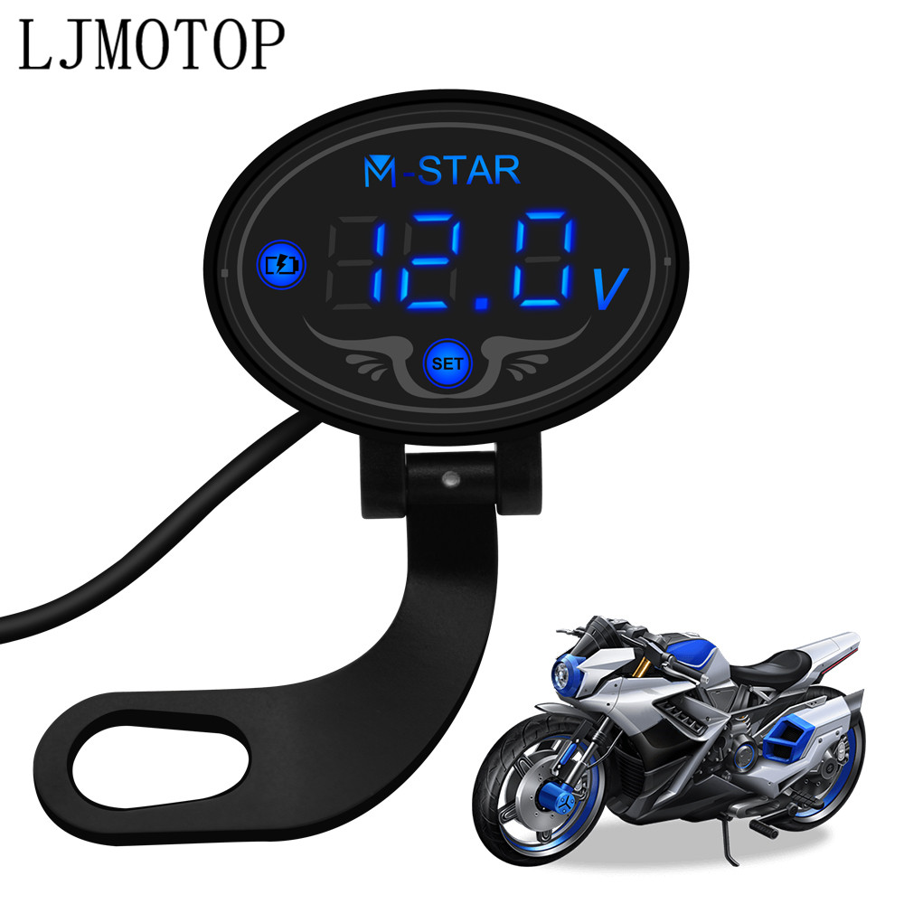 2019 Motorcycle Voltmeter Tester Led Display Voltage Meter For YAMAHA fjr1300 fz1 fz600 trx850 fzr400 fazer xjr400 Accessories
