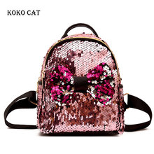 Mini Bow Knot Sequins Backpack Variable Color Fashion Glitter SchoolBag Shiny Teenager Girls Travel Rucksack Mochila Mujer
