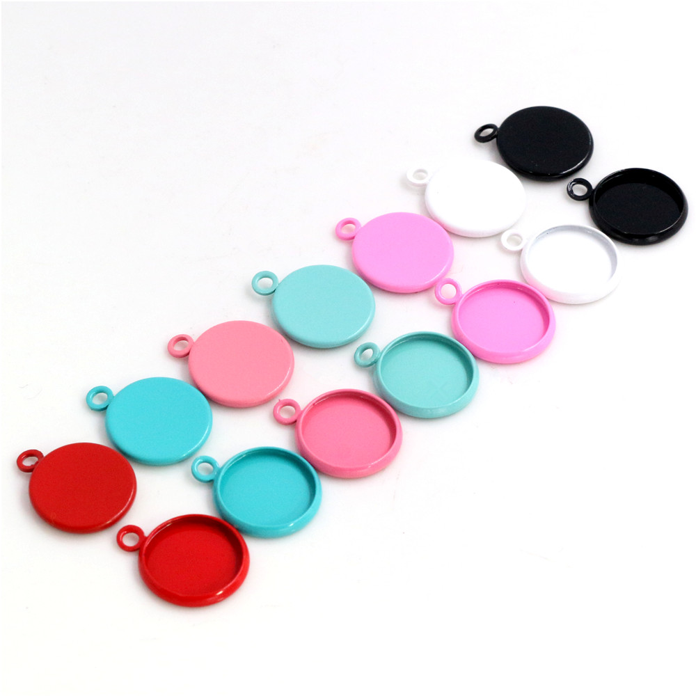 (New Colors) 20pcs/lot 12mm Inner Size 8 Colors Plated High Quality Iron Material Cameo Setting Pendant Tray,Fit 12mm Cabochons