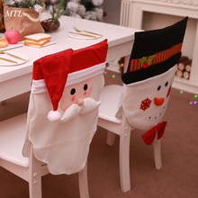 MTL Xmas Santa Claus Snowman elk Christmas Dining Dinner Table Chair Back Cover new year Decoration