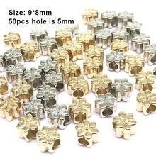 9*8mm 50/100 pces flor ccb grânulos bordado espaçador europeu grânulo grande furo para joias achados componentes (não metal)