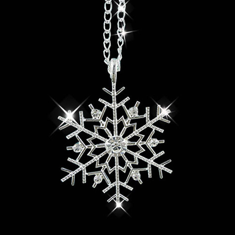 Christmas Necklace Gift Silver Snowflake Pendants Snow Flower Chain  Women Necklace Jewelry