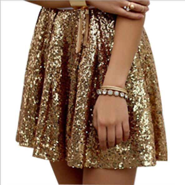 Mini Gonna A Pieghe Moda Sexy Oro Paillettes Estate Glitter