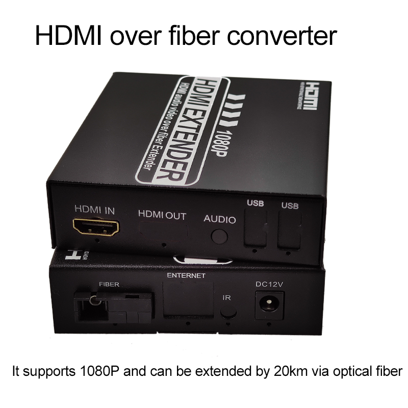 Convertidor de HDMI a fibra óptica, 1080P, HDMI, extensor de fibra óptica de vídeo KVM(HDMI USB) a ratón de fibra y teclado HDMI IR extensor