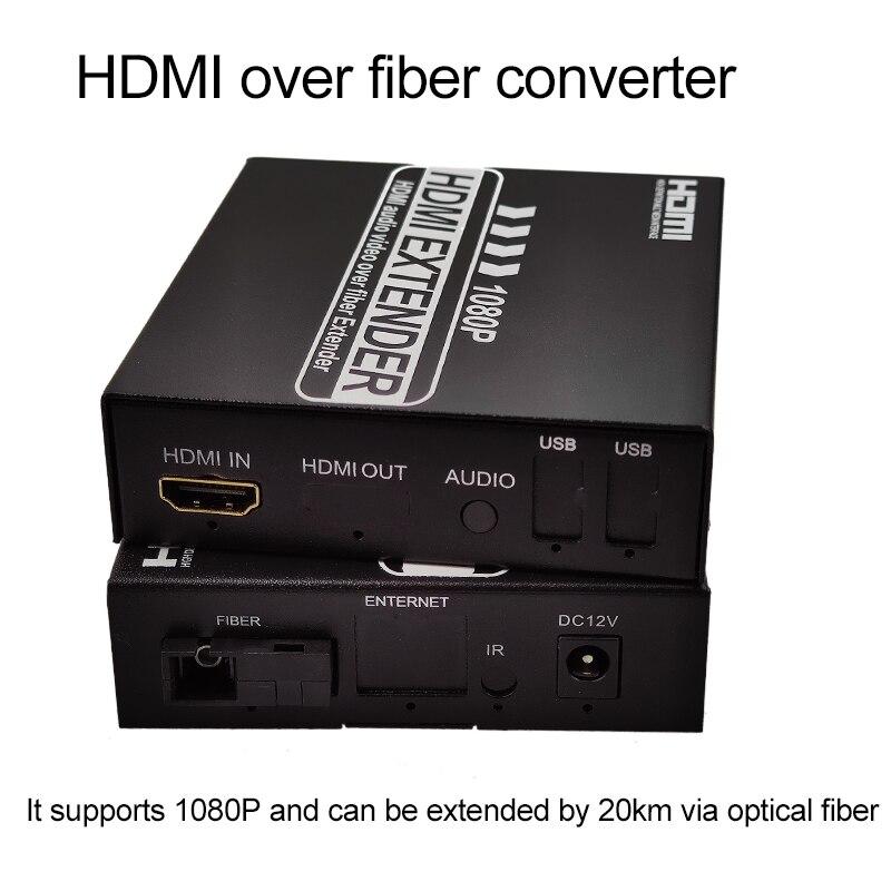 Hdmi Fiber Optic Converter 1080P 1080i HDMI Fiber Optic Video Extender HDMI  Transmitter Receiver  Via Fiber Transmission 20km