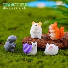 Miniature Garden Accessories Cute Resin Mini Animal Models Hamsters, Snails, Squirrels, Rabbits, Mice, Chick Desk Decoration