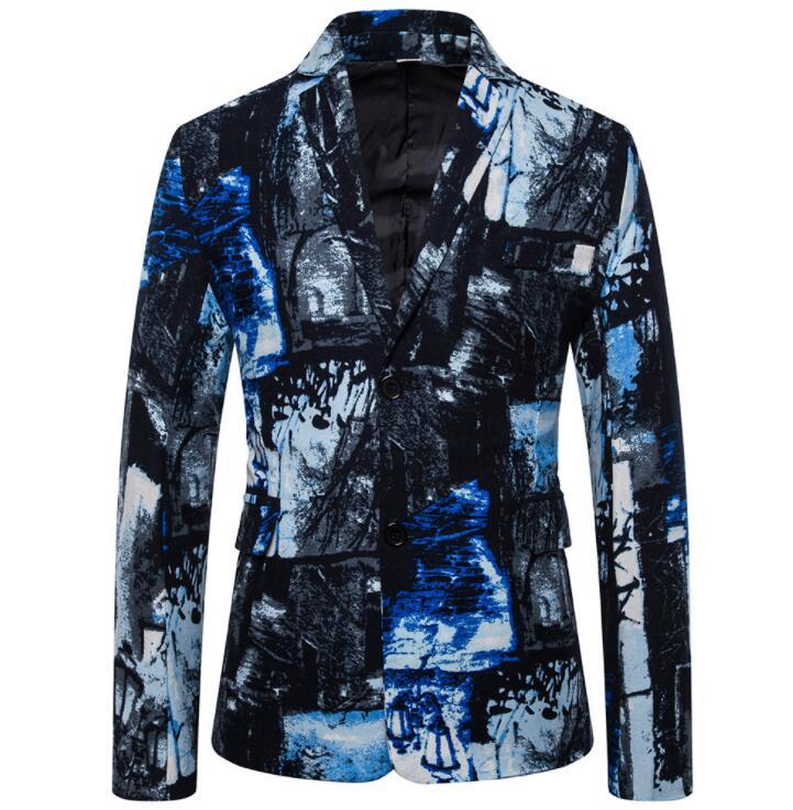 Fashion cotton and linen printed lapels suits men blazer masculino slim fit casaco jaqueta masculina coats mens jacket