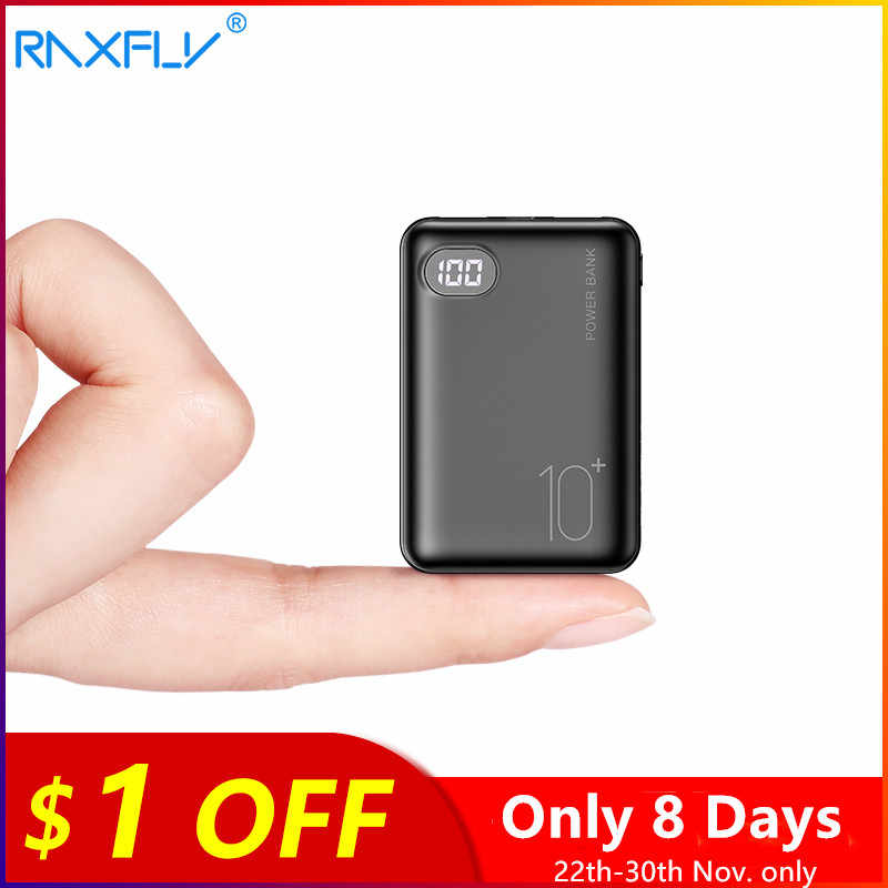 RAXFLY Mi Ni แบบพกพา Power Bank 10000mAh หน้าจอ LED Mi PowerBank สำหรับ iPhone Xiao Mi Dual USB พอร์ต Fast แบตเตอรี่ชาร์จภายนอก