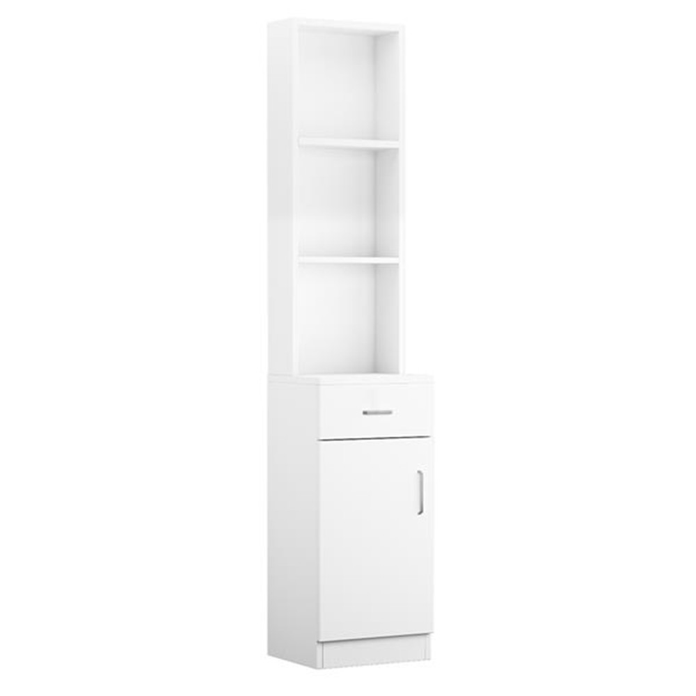 Standing 5 Compartments 1 Drawer 1 Door MDF Barber Cabinet White