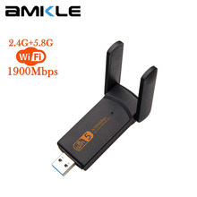 AMKLE Wireless USB Wifi Adapter 1900Mbps USB Network Card 1200Mbps Wifi Dongle USB LAN Ethernet Dual Band 2.4G 5.8G Fee Driver