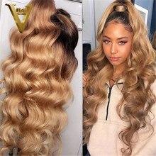 Омбре медовый светлый кружевной передний парик 1B 27 цветные человеческие волосы парики для женщин свободные волнистые T-образные кружевные ...