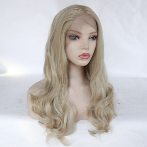 Image 2 - Freeshipping  African Americans Black Women Long Body Wavy Cheap Synthetic Lace Front Wig with Combs &Straps Free Part