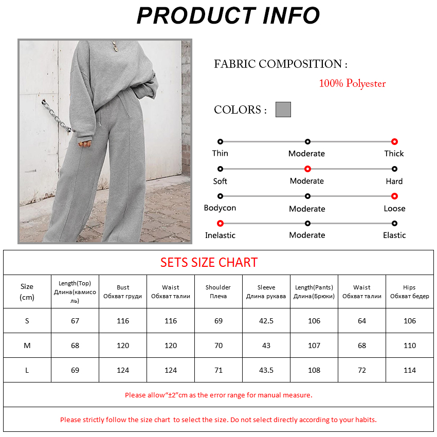Bclout Gray 2 Piece Set Women Loose Sports Suits For Women Streetwear Top Sweatershirt And Wide Leg Pants Autumn Two Piece Set