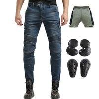 2019 Kevlar Men Motorcycle Riding Jeans Biker Pants Motocross Racing Jeans With 4 X Upgrade CE Armor Knee Hip Pads Blue S 3XL