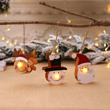 Mini LED Wooden Elk Snowman Christmas Ornaments Hanging Lights for Home Merry Xmas Decorations Gifts