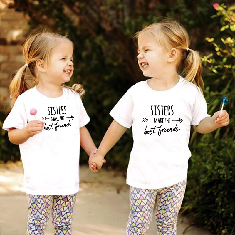 Sisters Make The Best Friends Kids T Shirt Girls Shirt Casual Children Toddler Best Friends Top Tees Sisters Tee Drop Ship image