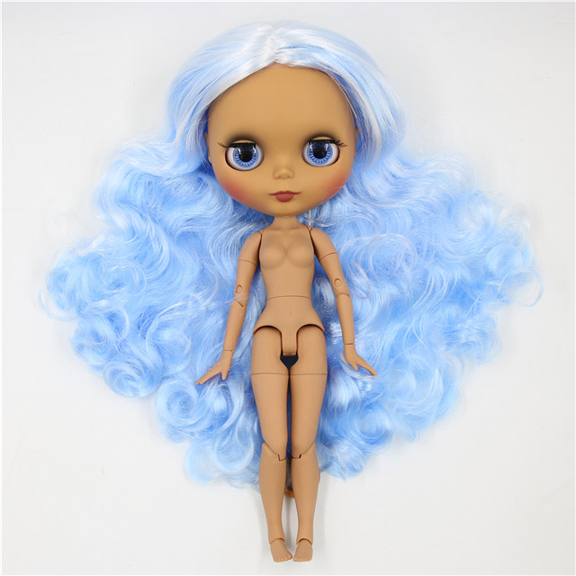 Neo Blythe Doll with Blue Hair, Dark Skin, Matte Face & Jointed Body 1