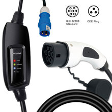 Evse 16A Blauw Cee IEC62196-2 Type 2 Duosida Dostar Draagbare Ev Opladen Plug Autolader 5M Kabel