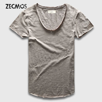 Zecmos Fashion Men T-Shirt With V Neck T Shirts For Men Male Luxury Cotton Plain Solid Curved Hem Top Tees Short Sleeve curved hem sequin ice cream t shirt