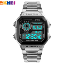 Skmei topo de luxo moda esporte relógio masculino 5bar relógio à prova dwaterproof água casual marca relógios eletrônicos masculinos digital relógio de pulso masculino