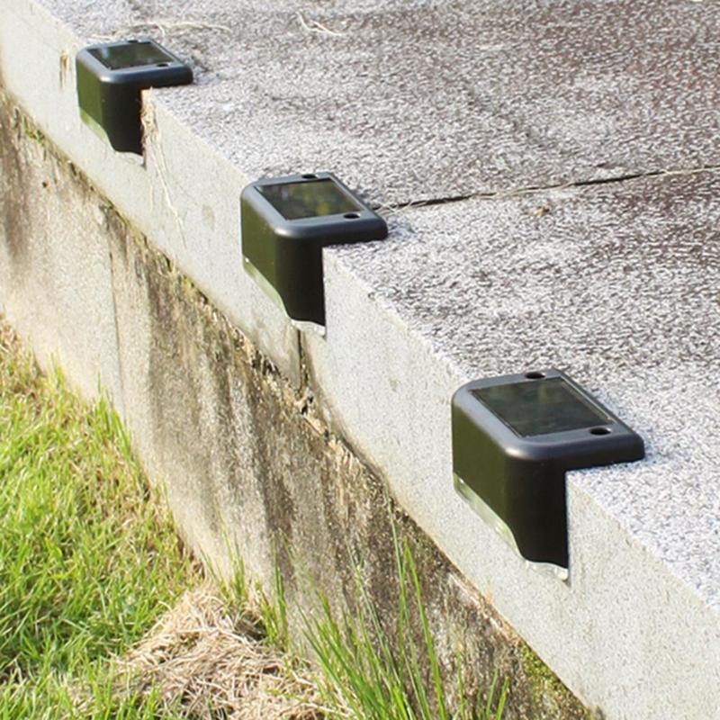 4 pièces LED chemin solaire escalier lumières extérieur jardin cour clôture mur paysage lampe solaire nuit lumière Rechargeable Ni-MH batterie