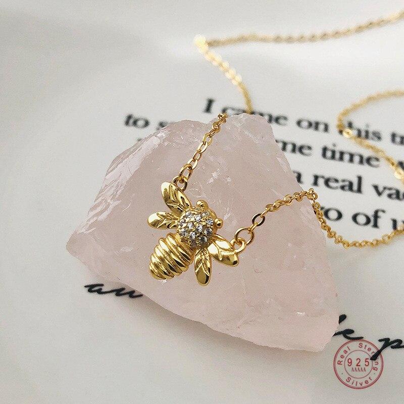 925 스털링 실버 황금 꿀벌 펜던트 쇄골 체인 목걸이 여성 패션 매력 웨딩 쥬얼리 액세서리 여자 친구 선물
