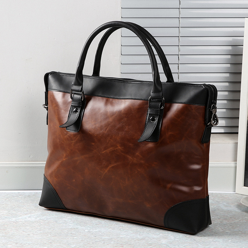Men's Briefcase Business Male Bag Leather Laptop Bag Business Men Briefcase Office Laptop Shoulder Bag