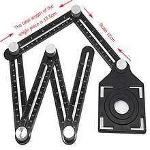 Telha buraco localizador ferramenta ajustável alvenaria vidro ângulo fixo medição régua universal modelo angular 6-fold ângulo régua