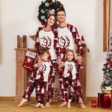Рождественская семейная парная Пижама комплект с оленем одежда