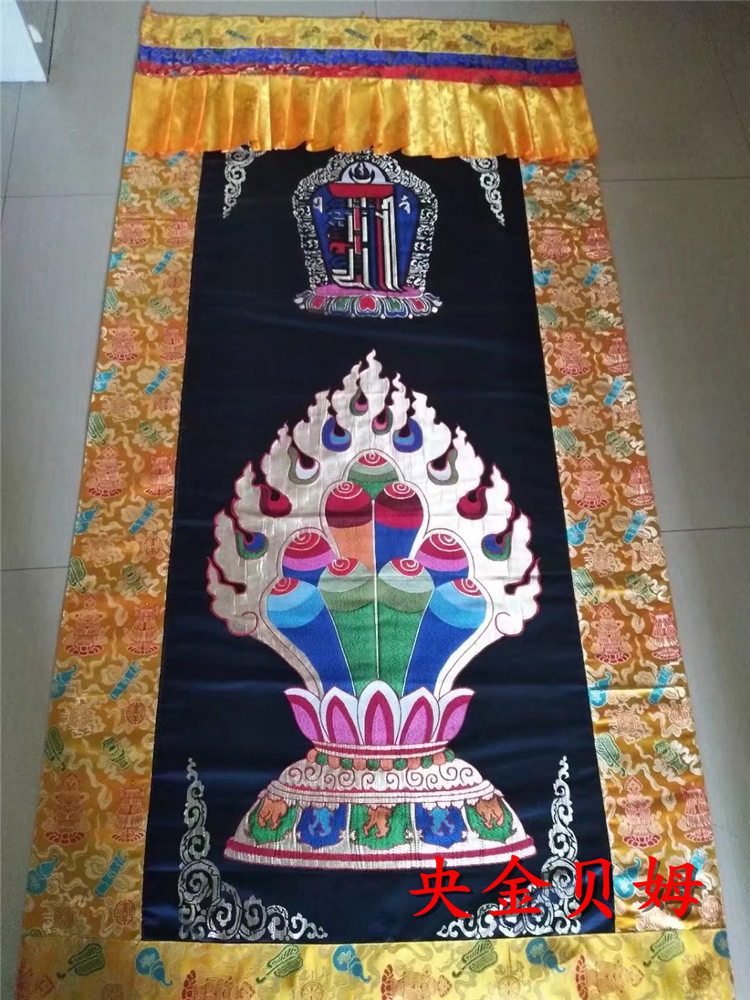 Rideau décoratif de la salle de bouddhisme tibétaine   Tissu Brocade jacquard/1*2m