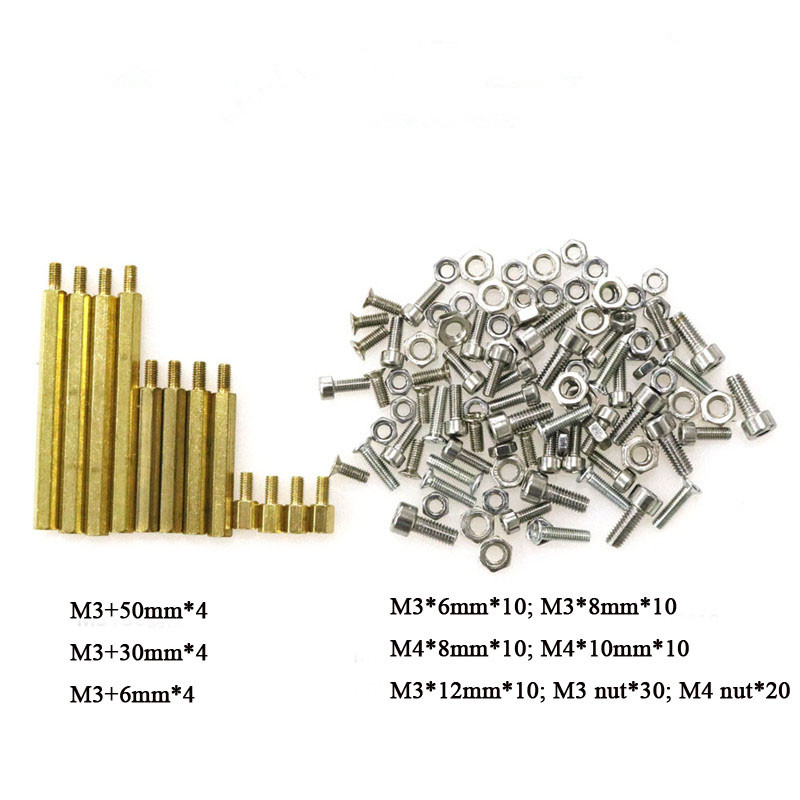 Screws And Nuts M3 * 12 M4 * 8 M3 * 8 Copper Cylinder Hollow Tank Robot Car Intelligent Chassis Accessories DIY Cans RC Part