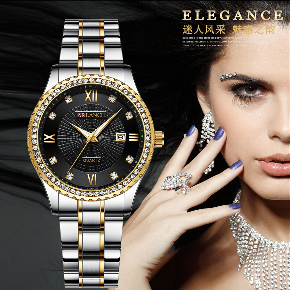 Ladies Dress Watch Rolexable Waterproof Stainless Steel Watch Women Calendar Waterproof Business Quartz Clock Female Wristwatch