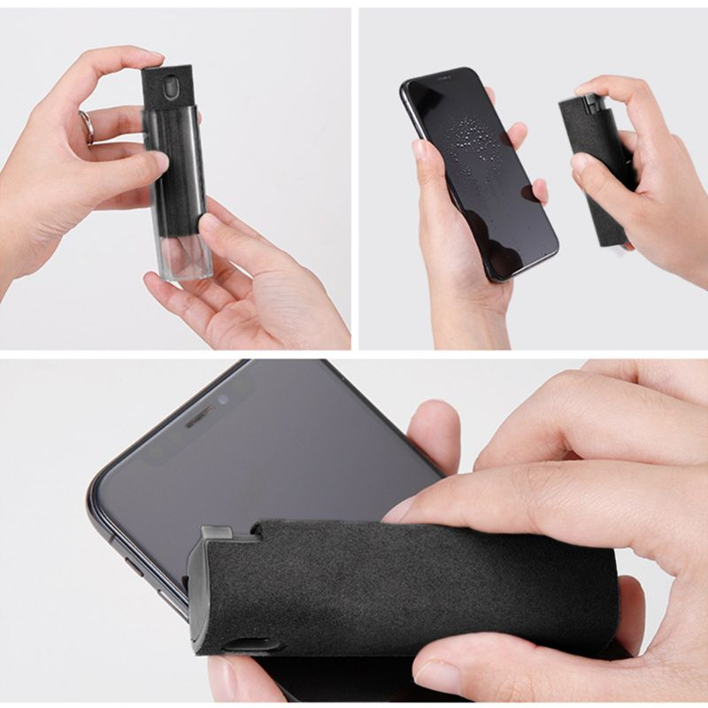 1Set Portable Phone PC Screen Cleaner Microfiber Cloth Cleaning Device Spray Portable Magic Glasses for TV PC Computer Screen 5