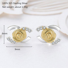 100% 925 Sterling Silver Small Stud Earrings Women Shiny Gold Earring for Jewelry