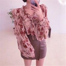 Блузка женская шифоновая с цветочным принтом милый топ v образным