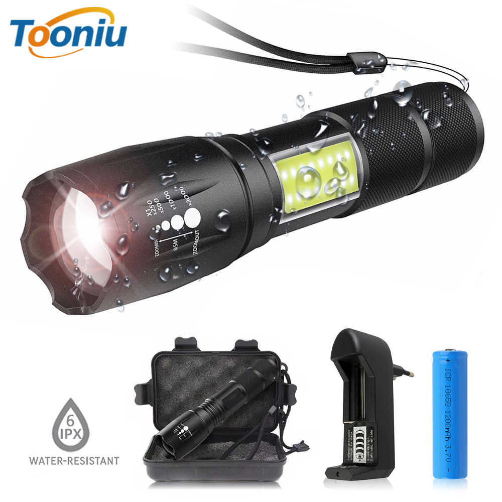 LED flashlight side COB lamp design T6 / L2  telescopic zoom portable flashlight 4 lighting modes for 18650 battery + charger